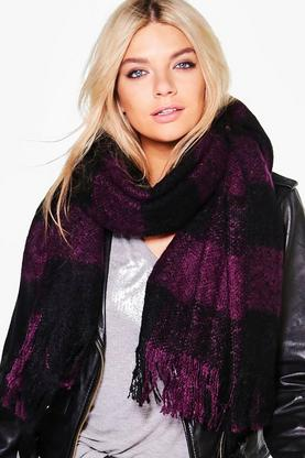 Matilda Large Scale Boucle Check Scarf