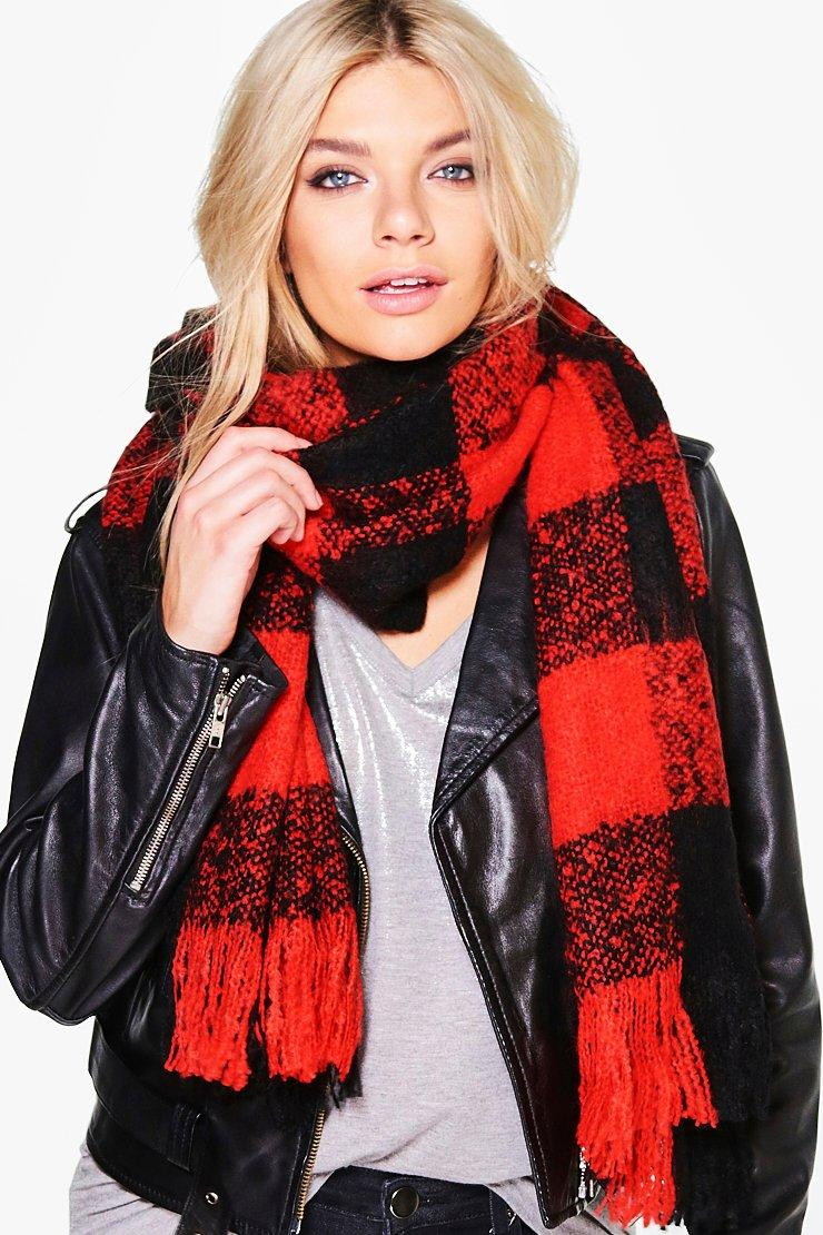 Large Scale Boucle Check Scarf - red - Matilda Lar