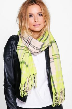 Sofia Neon Check Tassel Brushed Cotton Scarf