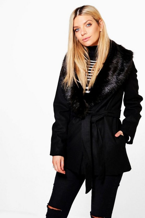 Olivia Detachable Faux Fur Collar Belted Jacket