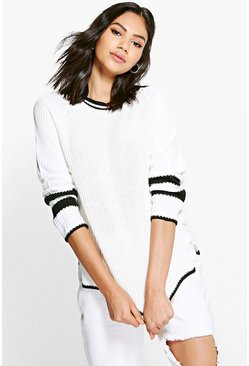 Grace Contrast Block Stripe Rib Knit Jumper
