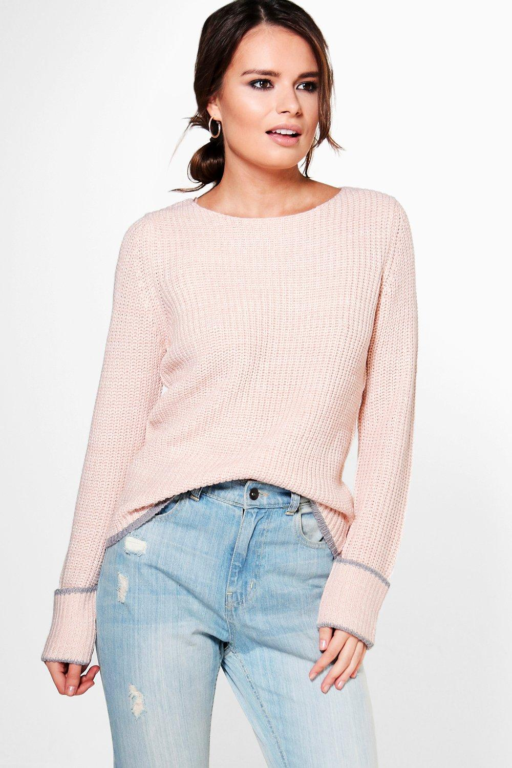 Isabella Fisherman Jumper With Tipped Cuff