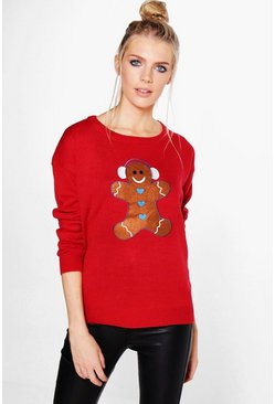 Daisy Gingerbread Man Applique Christmas Jumper