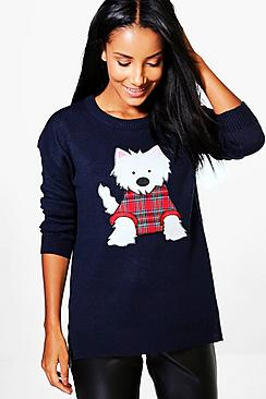 Libby Split Hem Scotty Dog Applique Christmas Jumper