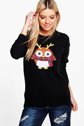 Erin Split Hem Robin Applique Christmas Jumper