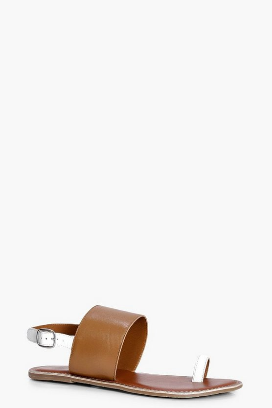 Zoe Leather Contrast Toe Ring Sandal