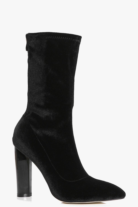Nancy Stretch Velvet Sock Boot