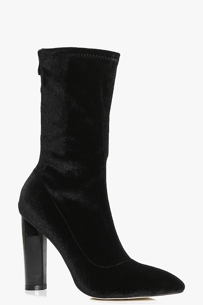 Nancy Stretch Velvet Sock Boot