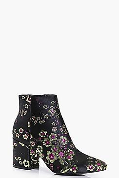 Anya Floral Metallic Ankle Boot