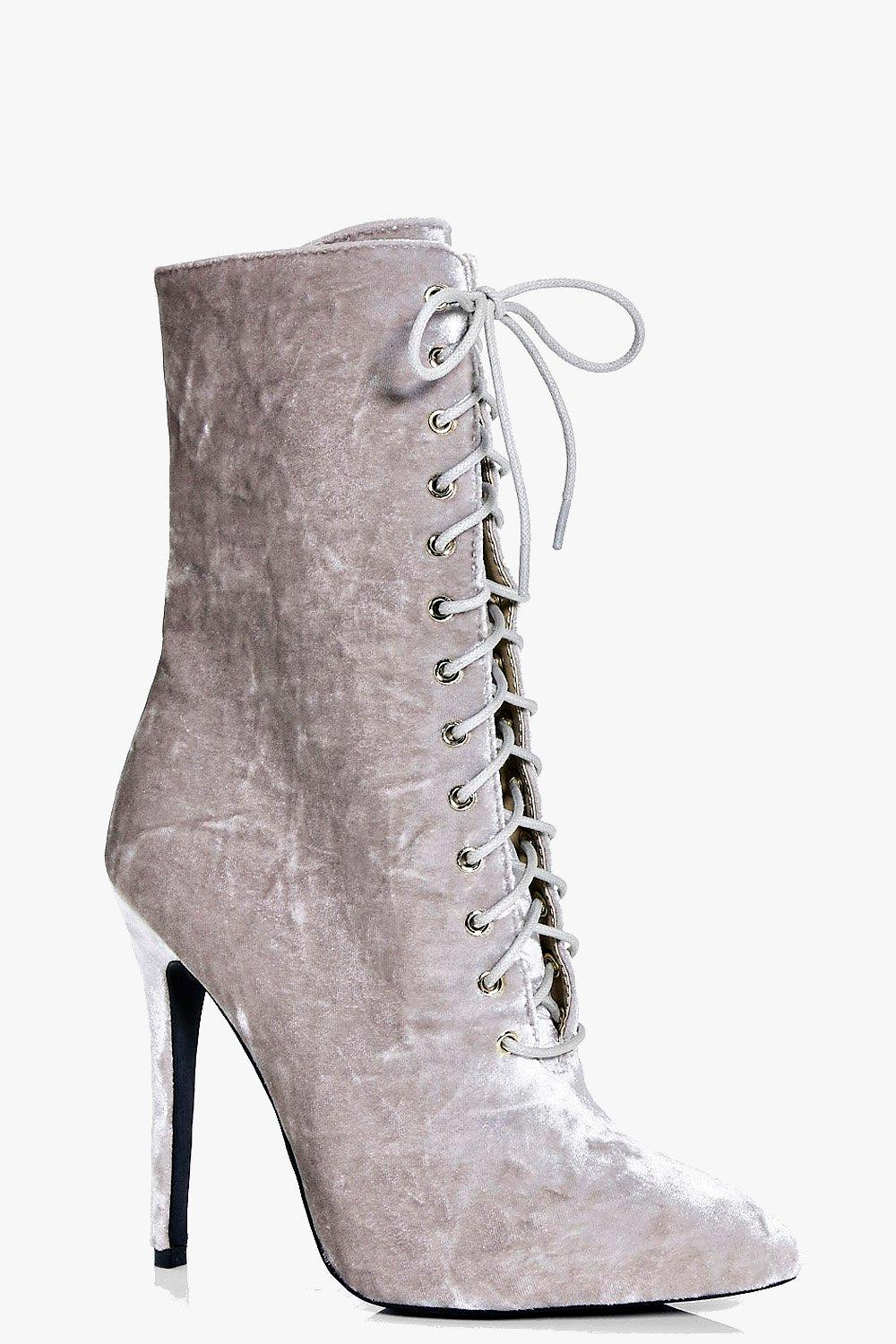 Annie Crushed Velvet Lace Up Shoe Boot