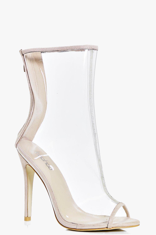 Faye Stiletto Peeptoe Clear Shoe Boot