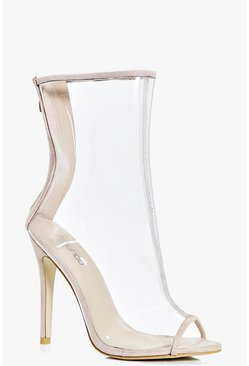 Faye Stiletto Peeptoe Clear Shoe Boot