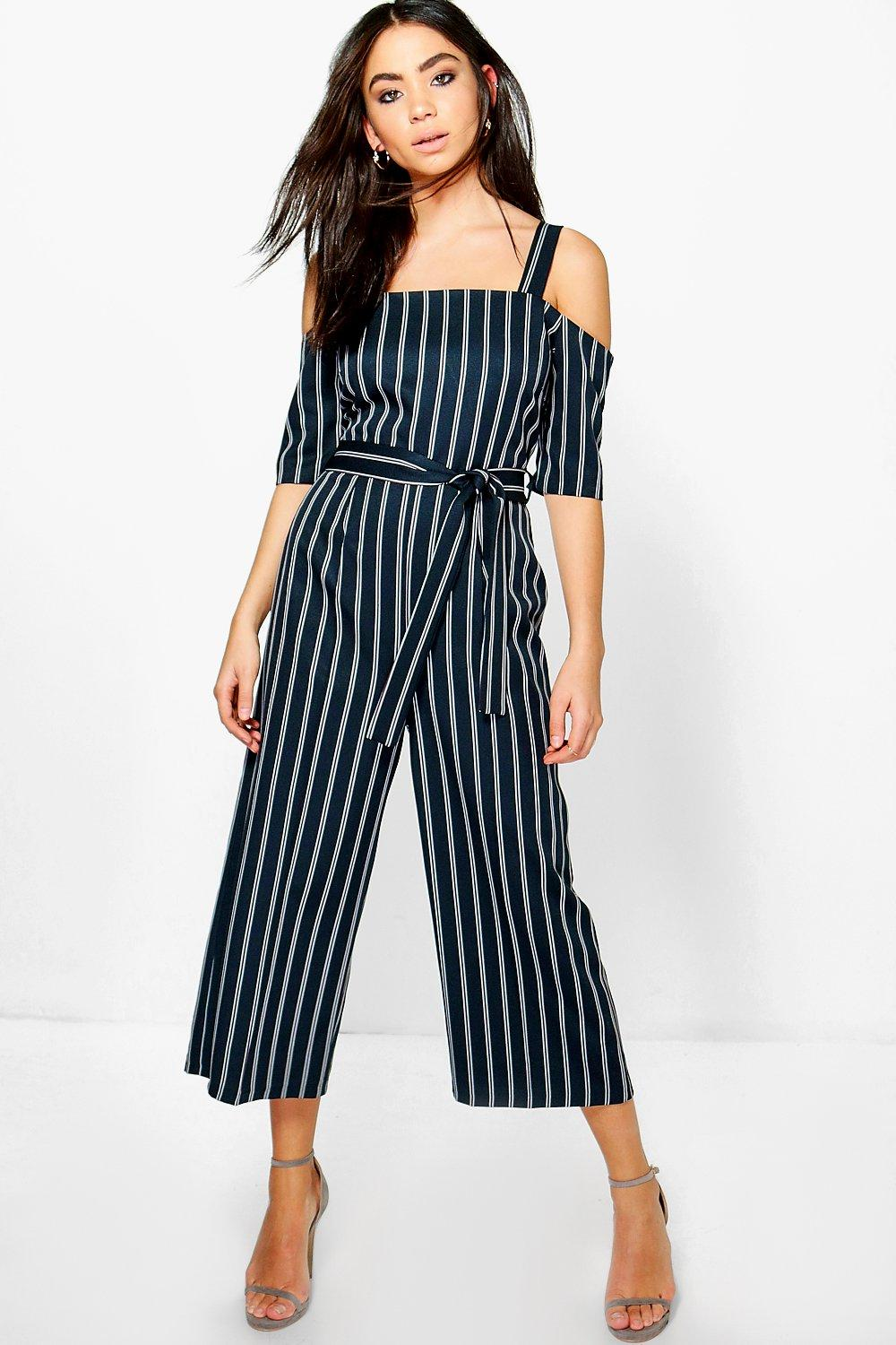 Kimy Cold Shoulder Culotte Pinstripe Jumpsuit