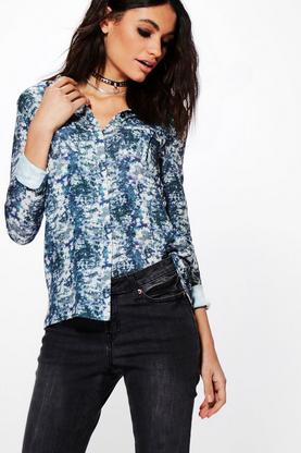 Denise Print Detail Long Sleeved Shirt