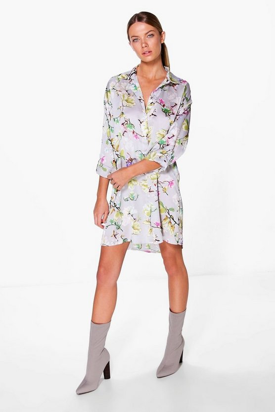 Aeron Floral Print Satin Shirt Dress