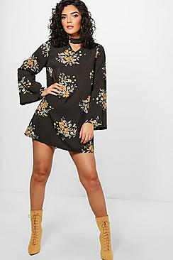 Aditi Floral Print Choker A-Line Shift Dress