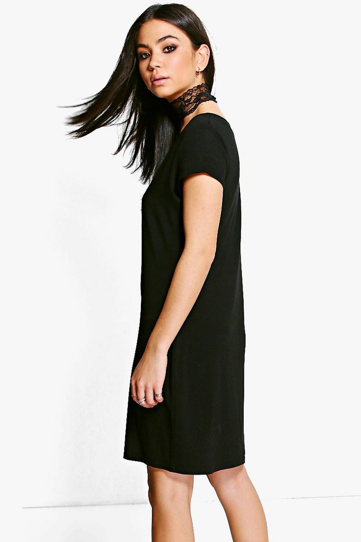 boohoo adina robe t shirt ras du cou en dentelle pour femme ebay. Black Bedroom Furniture Sets. Home Design Ideas