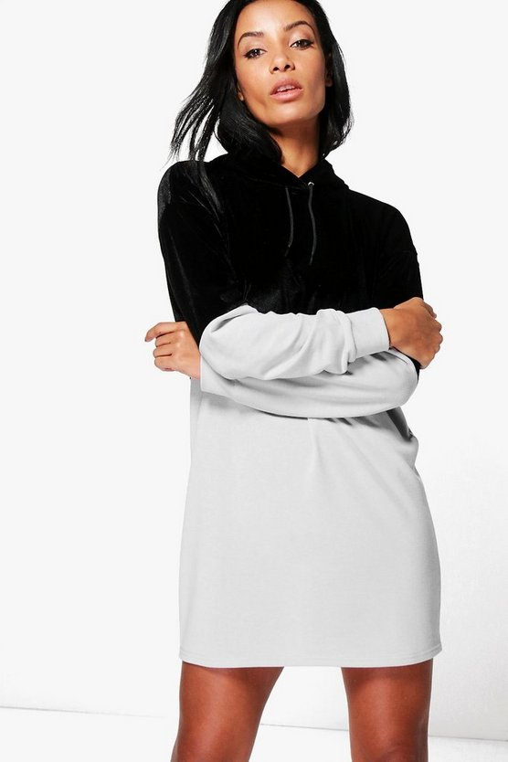 Abbey Velvet Colour Block Sweatshirt Dress