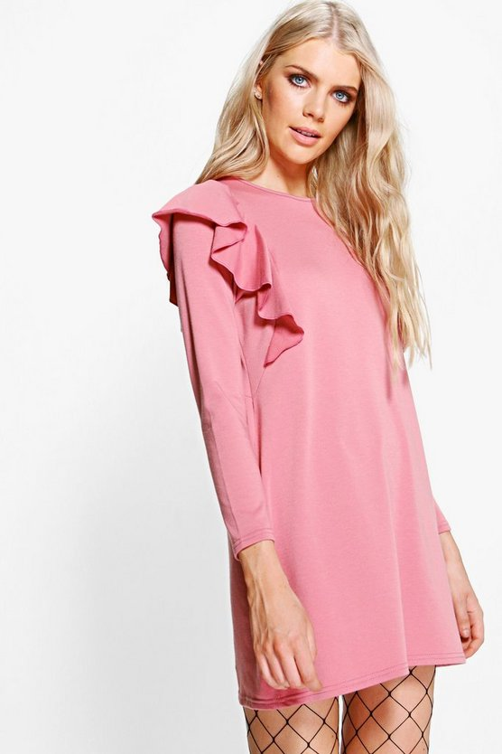 Zhen Long Sleeve Ruffle Shoulder Shift Dress