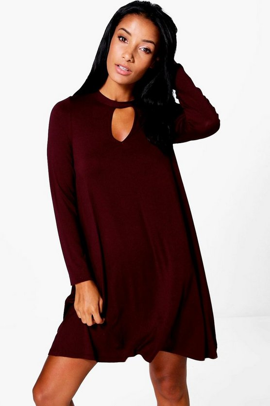 Xena Key Hole Long Sleeve Swing Dress