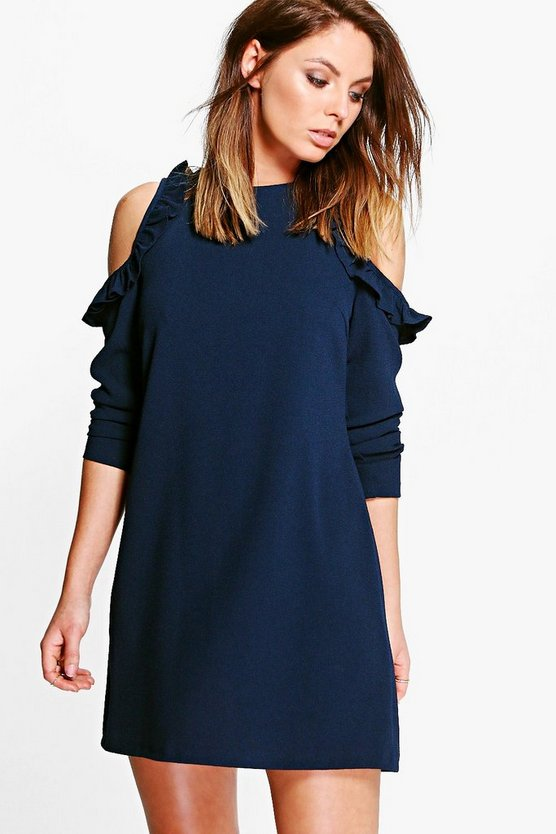 Tyra Ruffle Cold Shoulder Skater Dress