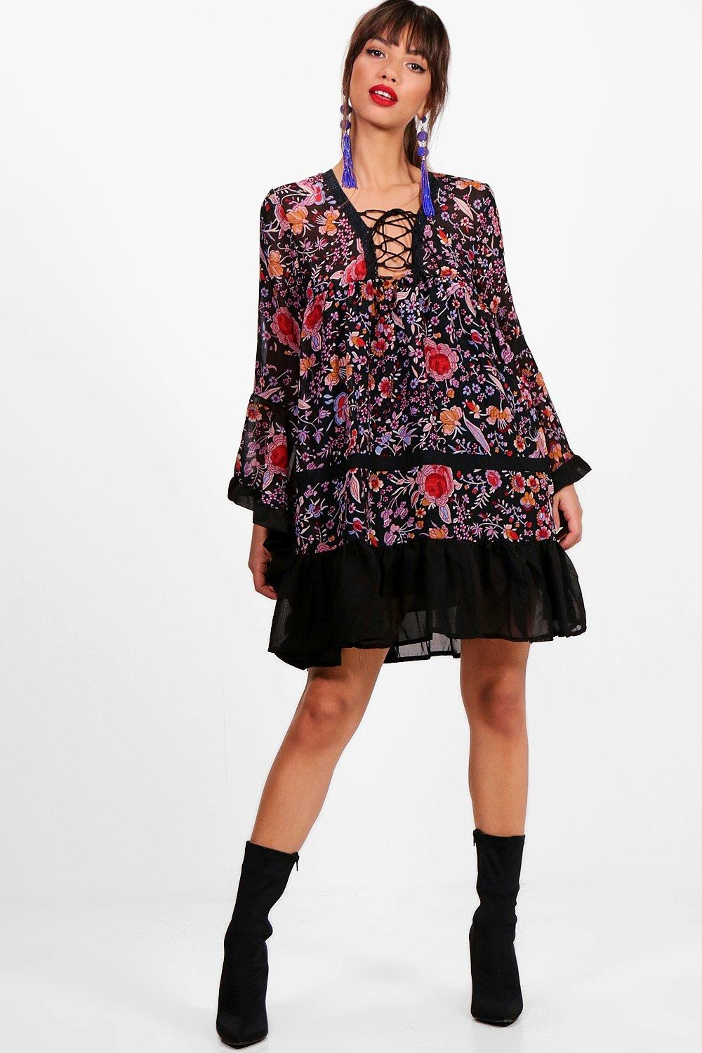 Kylie Lace Up Flute Sleeve Printed Dress