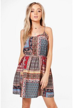 Alecta Paisley Tile Print Sun Dress