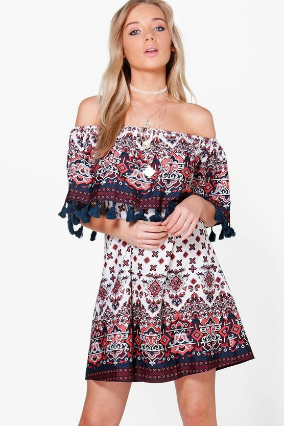 Larsa Off Shoulder Tassle Print Shift Dress