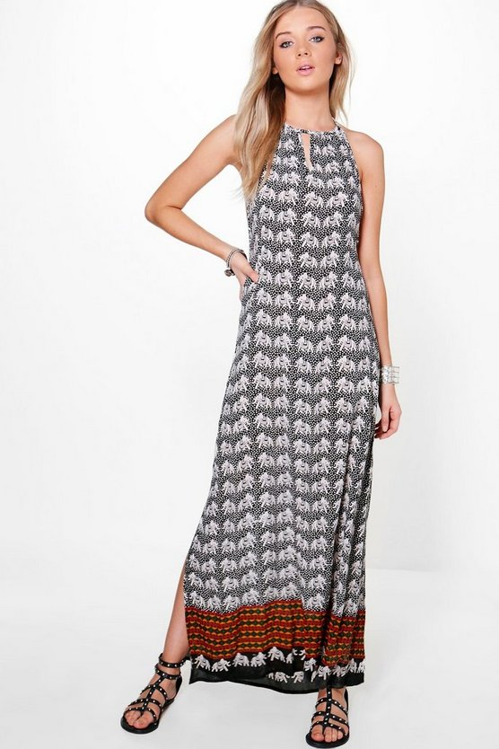 Maddy Elephant Print Pom Pom Maxi Dress