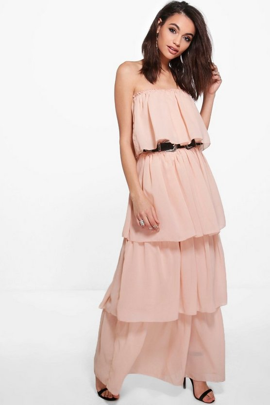 Brigitte Off Shoulder Ruffle Maxi Dress