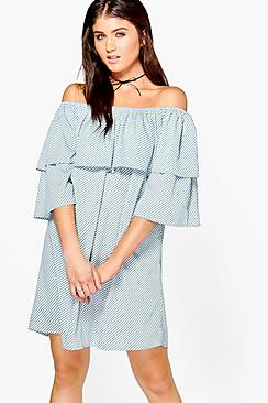 Jaclyn Stripe Off Shoulder Shift Dress