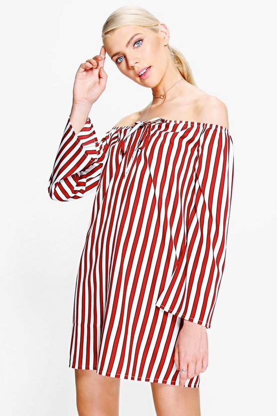 Lottie Stripe Off Shoulder Shift Dress