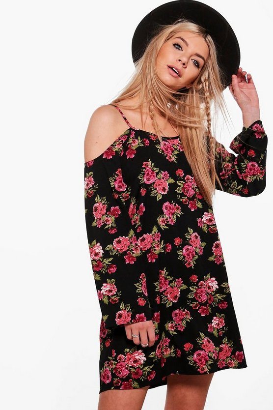 Eliana Cold Shoulder Floral Shift Dress