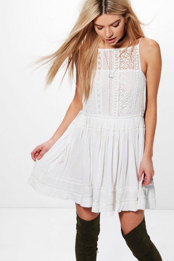Boutique Sonia Crochet Tassel Side Dress