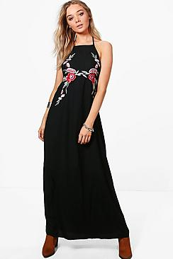 Boutique Sofia Embroidered Maxi Dress