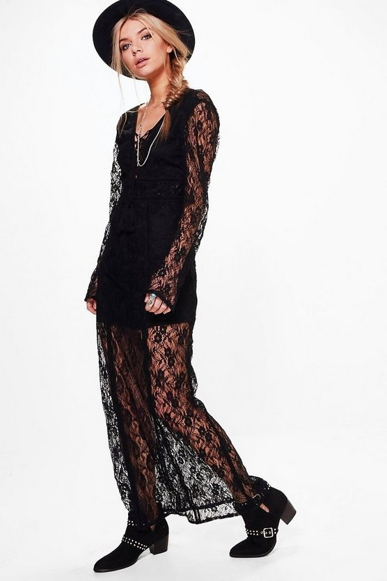 Lace Tassel Detail Maxi Dress