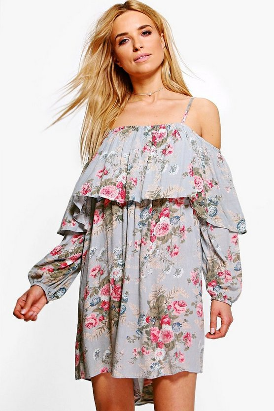 Isobel Off Shoulder Floral Shift Dress