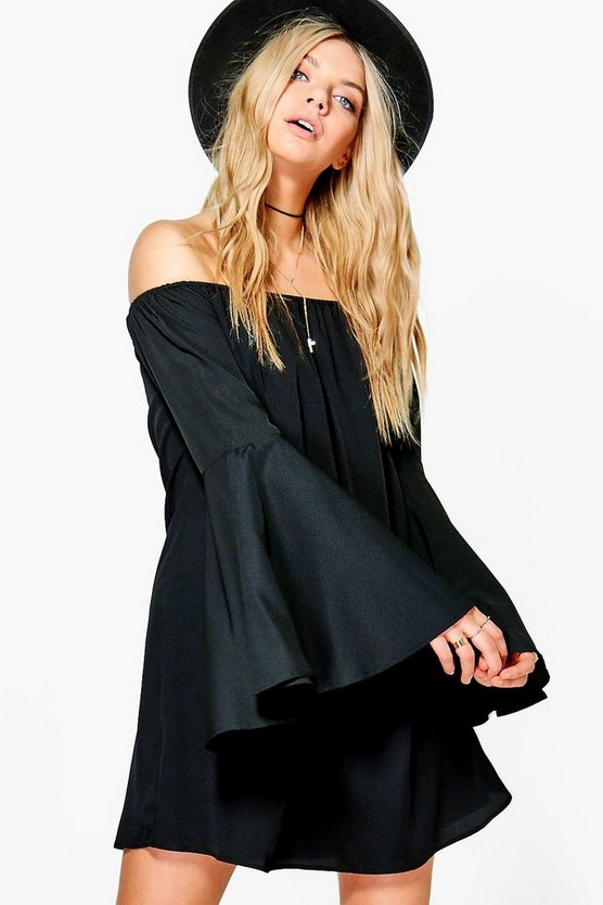 Daisy Off Shoulder Flute Sleeve Shift Dress