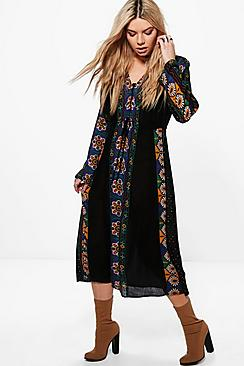 Bernadette Retro Print Midi Dress