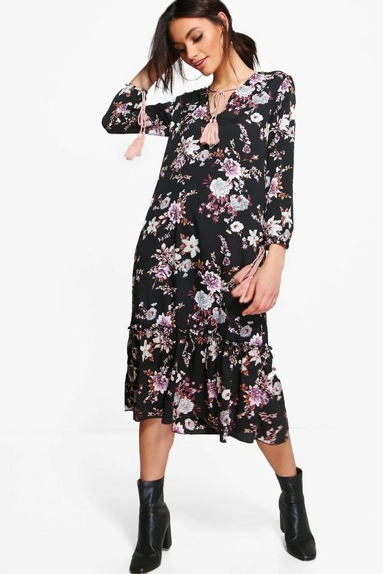 Philomena Floral Tassle Detail Midi Dress