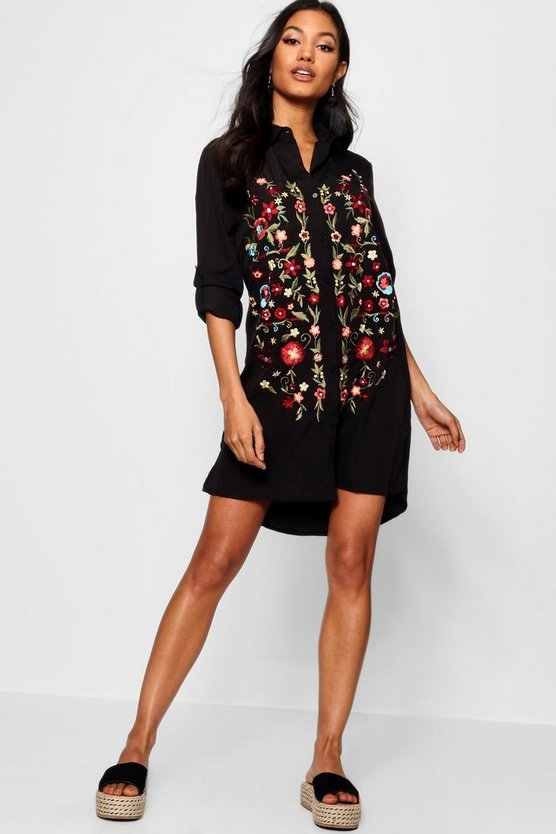 Leonie Frill Embroidered Shirt Dress
