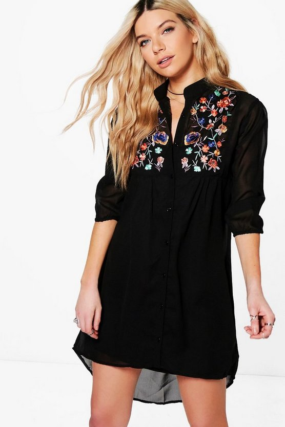 Dory Embroidered Shirt Dress