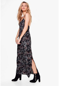 Zahiah Paisley Print Maxi Dress