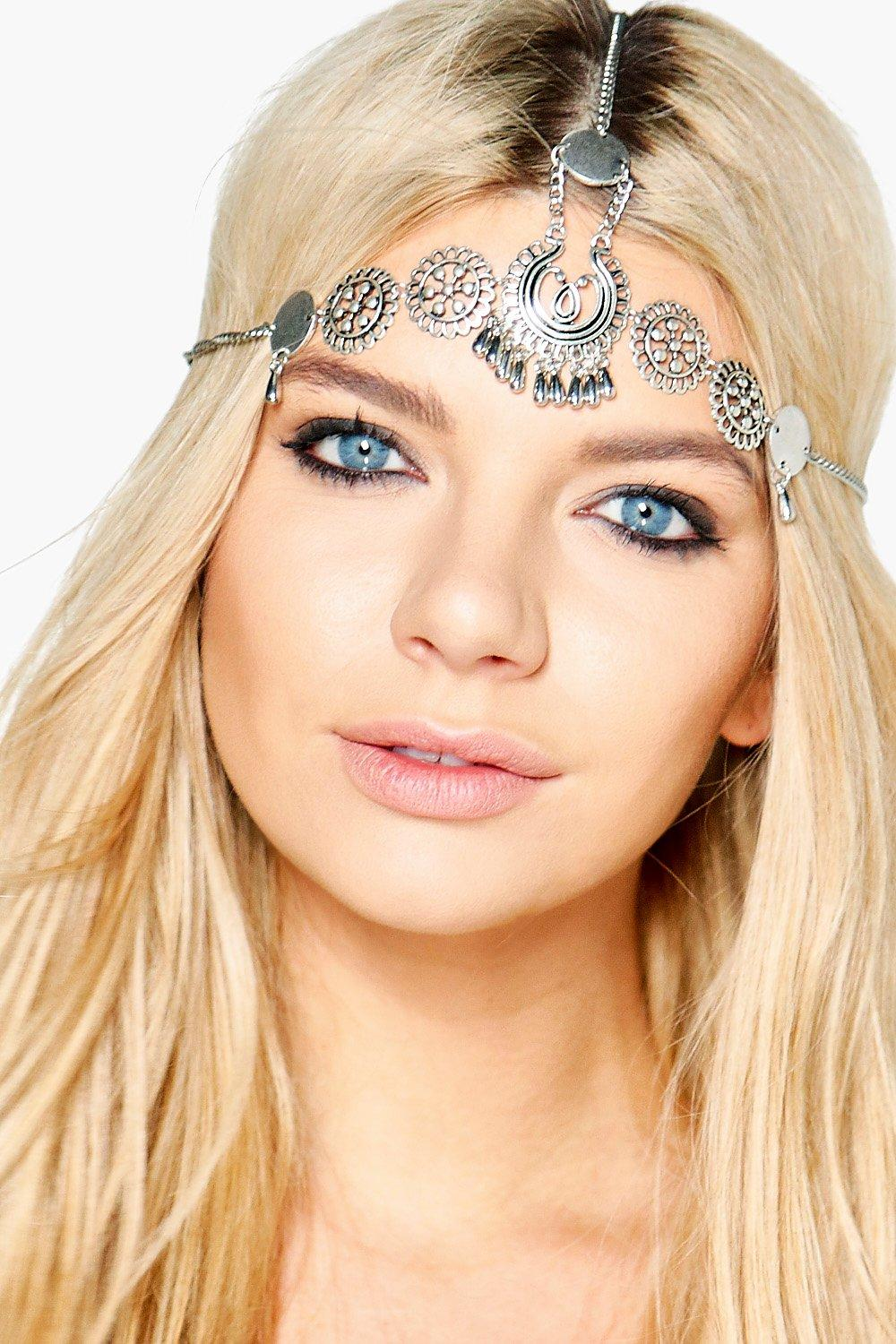 Boutique Vintage Embellished Head Chain - silver -