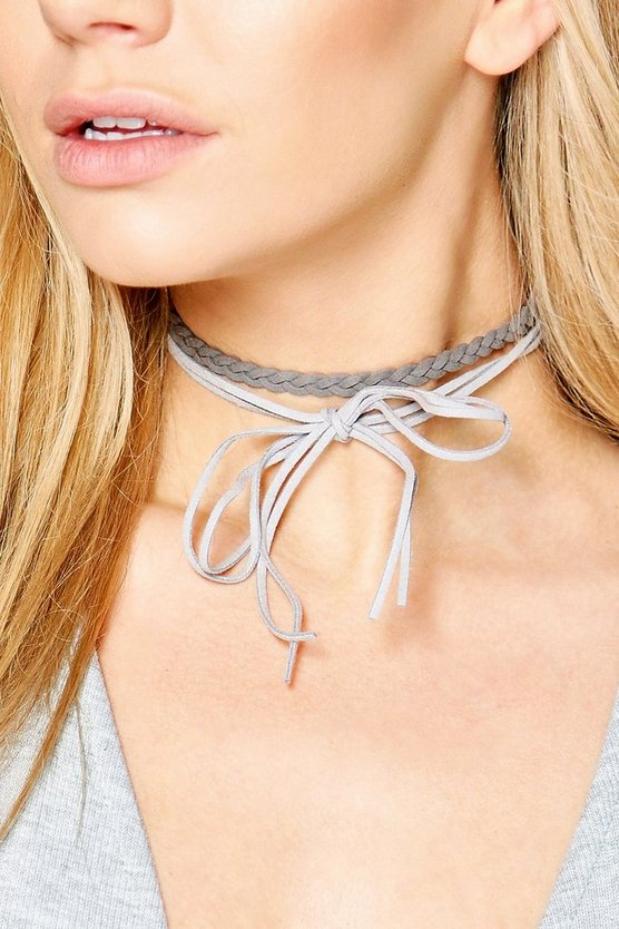 Isabella Braided Suedette Wrap Around Choker