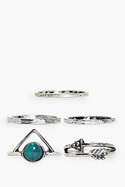 Charlotte Gem Stone & Plain 5 Ring Pack