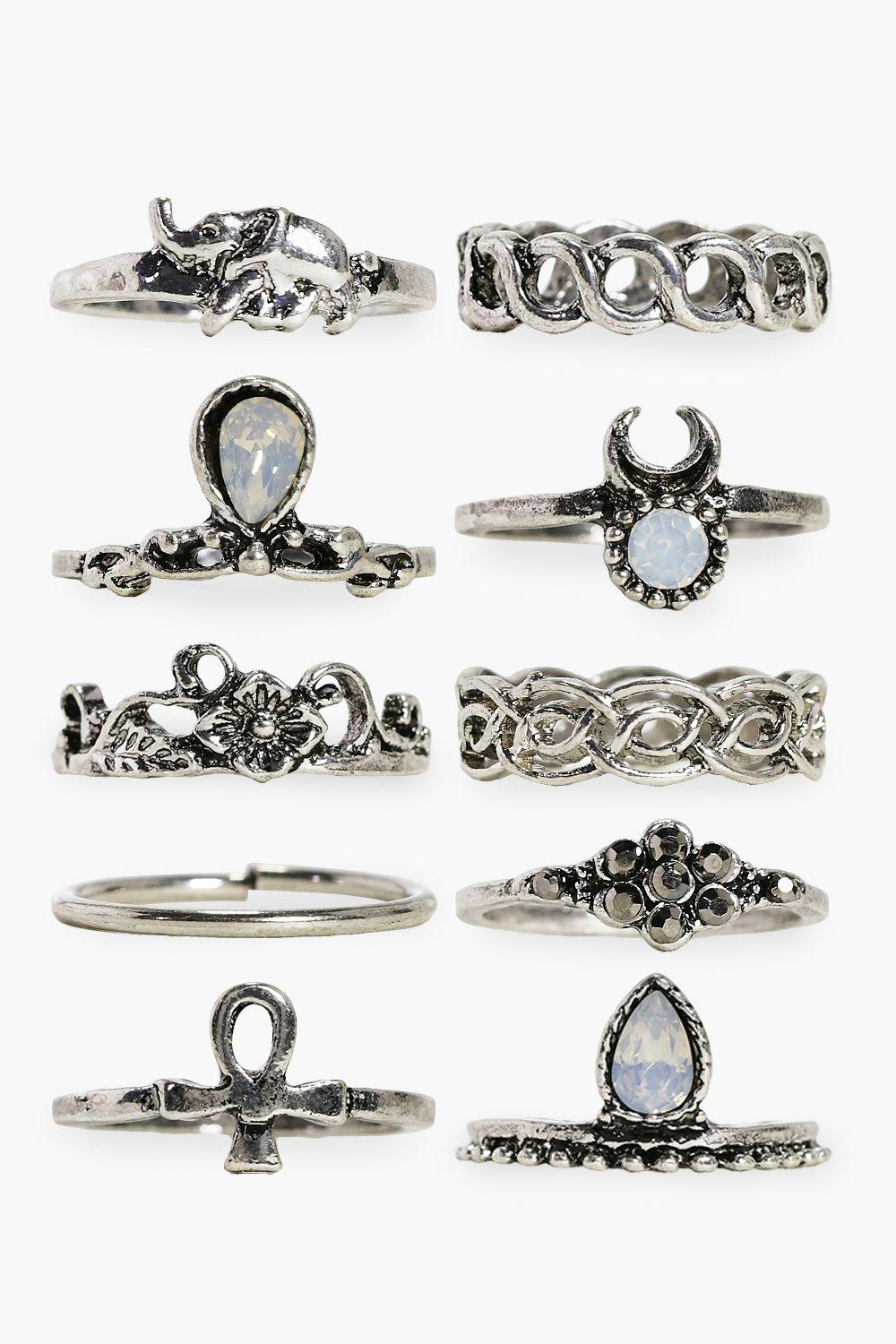 10 Piece Stone Set Ring Pack - silver
