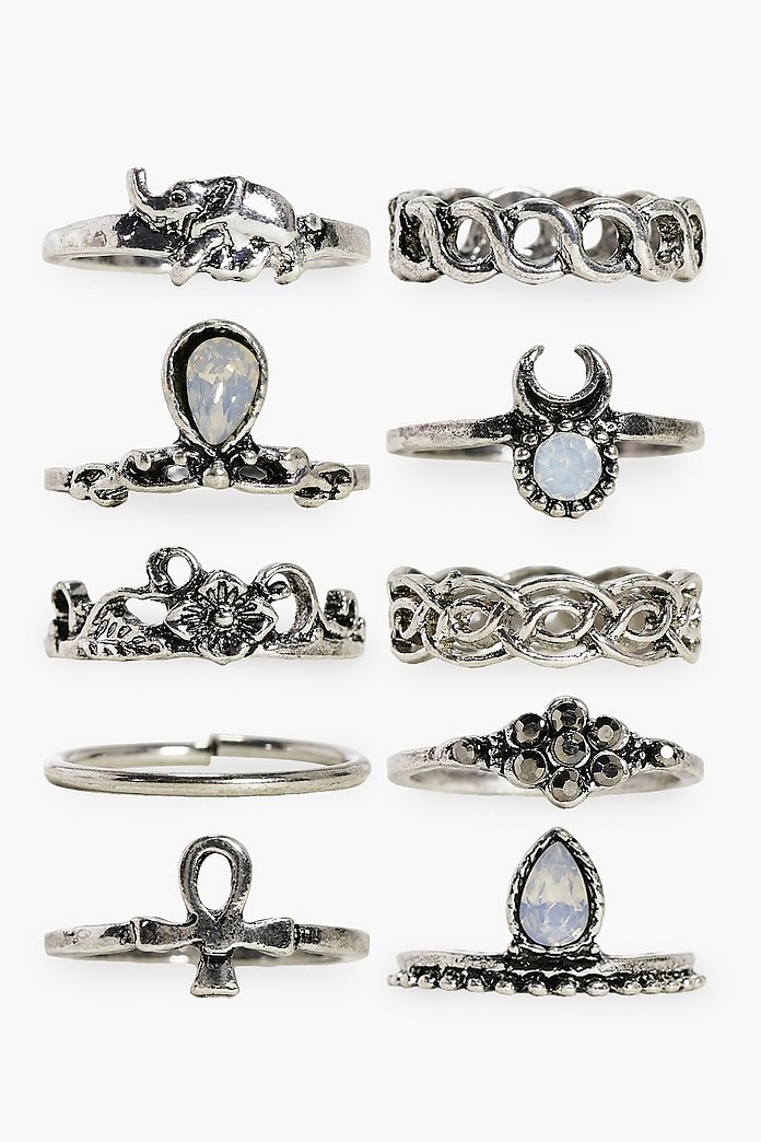 Daisy 10 Piece Stone Set Ring Pack