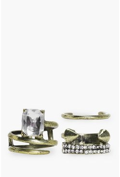 Lucy Mixed Style Crystal Ring Pack