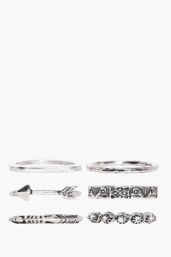 Scarlett 6 Piece Arrow Ring Pack